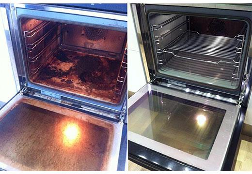 До и после мойки духовки