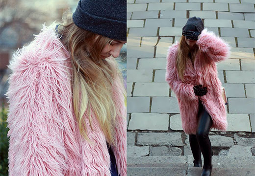 Розовая шубка